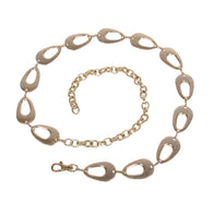Women's Fashion Gold Tone Metal Oval Circle Chain Belt