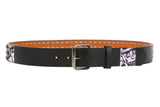 "Snap On 1 1/2"" Flame Skull Star Studded Belt"