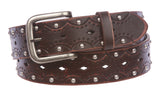 "1 1/2"" Snap on Perforated Vintage Embossed Studded Jean Belt"