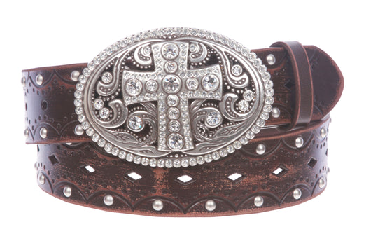 Studded Perforated Embossed Leather Belt With Rhinestone Bling Cross Buckle