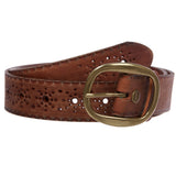 Snap on Flower Embossed Vintage Full Grain Oval Leather Jean Belt