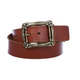 "1 3/4"" Snap on Cowboy Curved Bone Vintage Cowhide Thick Leather Casual Jean Belt"