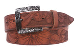 "1 1/2"" Snap On Soft Hand Floral Engraving Full Grain Leather Belt"