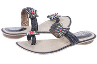 Womens JOHN FASHION Metallic Embroidery Butterfly Beads Sandal