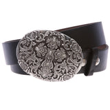 Western Antiqued Silver Cross & Rose Filigree Rhinestones Oval Belt