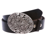 Western Antiqued Silver Sunflower Filigree Rhinestones Oval Belt