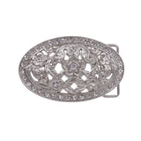 "1 1/2"" Antique Silver Brass Oval Perforated Engraved Crystal Rhinestone Western Floral Belt Buckle"