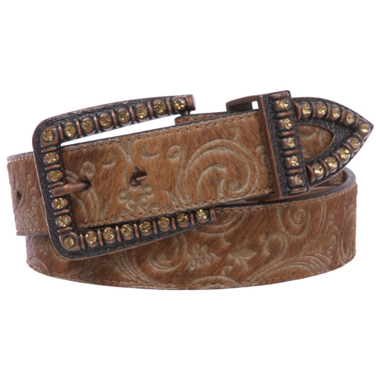 Women's Western Cowgirl Rhinestone Genuine Leather Faux Animal Fur Belt