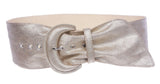 Women's Wide High Waist Metallic Crack Print Tapered Sash Belt