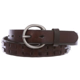 "1 1/8"" (28 mm) Oil Tanned Round Buckle Double Braided Stitching Link Genuine Leather Belt"