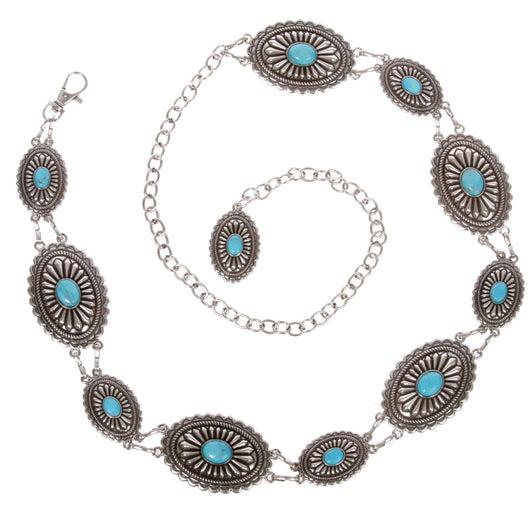 Women's Western Oval Turquoise Stone Concho Chain Belt
