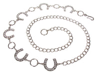Ladies Rhinestone Horseshoe Metal Chain Belt