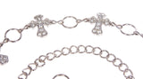 Ladies Rhinestone Cross Ornaments Metal Chain Belt