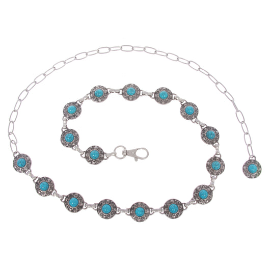 Women's Skinny Western Turquoise Stone Blue Concho Chain Belt