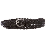 "Women's 3/4"" (18 mm) Skinny Narrow Braided Woven Solid Leather Belt"