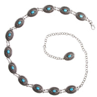 Women's Western Oval Turquoise Stone Concho Skinny Chain Belt