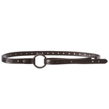 "Women's 3/4"" (19mm) Perforated Floral Hollow Out Full Grain Cowhide Leather Skinny Loop Belt"