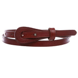 "Women's 1/2"" (13 mm) Skinny Edge Stitch Plain Leather Dress Belt"
