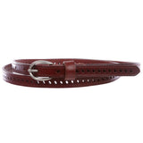 "Women's 1/2"" (13 mm) Skinny Perforated Edge Stitch Casual / Dress Leather Belt"