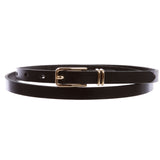 "Women's 1/2"" (13 mm) Skinny Plain Solid Real Leather Dress Belt"