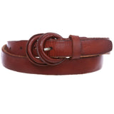 Women's Double Round Self-covered Vintage Distress Casual Leather Jean Belt