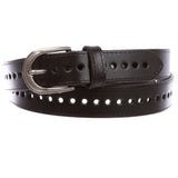 "Women's 1 1/8"" (28 mm) Perforated Full Grain Leather Edge Stitch Casual Belt"