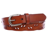 "Women's 1 1/8"" (28 mm) Perforated Full Grain Leather Casual Jean Belt"