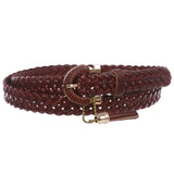 "Women's 7/8"" (22 mm) Skinny Narrow Braided Woven Solid Leather Jean Belt"