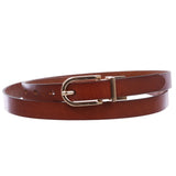 "Women's 3/4"" (18 mm) Cowhide Full Grain Leather Reversible Skinny Dress Belt"