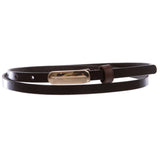 "Women's 3/8"" (10 mm) Skinny Plain Solid Real Leather Dress Belt"