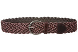 "Womens 2"" (50 mm) Round Braided Woven Vintage Distressed Leather Belt"