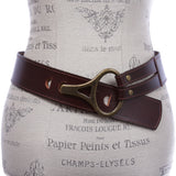 Womens High Waist Genuine Leather Belt With Hook Closure