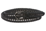 "Ladies 3/4"" (19mm) Skinny Metal Chain Woven Leather Braided Belt"