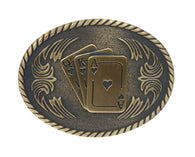 Oval Playing Cards Spades of Ace King Queen Belt Buckle