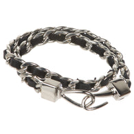Double Wrap Leather Laced Chain Bracelet