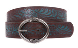 "1 1/2"" Ring buckle Floral Embossed Vintage Leather Belt"