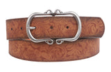 "1 1/2"" Floral Embossed Vintage Leather Belt"