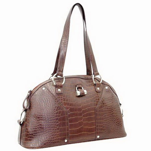 Alligator Textured  Leather Look Like Tote Fashion Bag