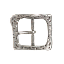 1 1/2 Inch Single Prong Antique Silver Hammered Square Belt Buckle