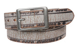 "1 1/2"" Wide Genuine Vintage Crack Print Distressed Leather Belt  w/ Rectangular Buckle"
