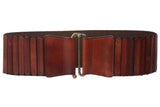 "3"" Wide High Waist Leather Stretch Belt with Brass Hook Front Closure"
