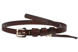 "3/4"" Skinny Waist Genuine Leather Belt with Tassel Detail"