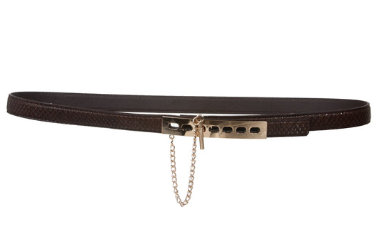 Skinny Waist Faux Croco Belt with Shiny Gold Hardware Detail