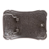 Western Solid Brass Engraved Rectangular Belt Buckle