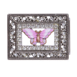 "1 1/4"" Western Rectangular Rhinestone Engraving Distinctive Pink Butterfly Buckle"