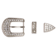 Western 25 mm Rhinestone Belt Buckle Set for Replacement or Leather Craft