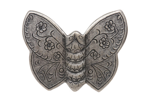 Western Butterfly Floral Engraving Antique Belt Buckle
