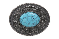 Oval Flower Turquois Stone Antique Belt Buckle
