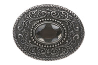 Western Rhinestone Oval Floral Antique Belt Buckle