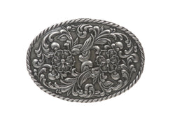 Western Oval Floral Antique Belt Buckle